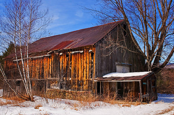New Hampshire Print featuring the photograph Winter Barn - Chatham New Hampshire by Thomas Schoeller