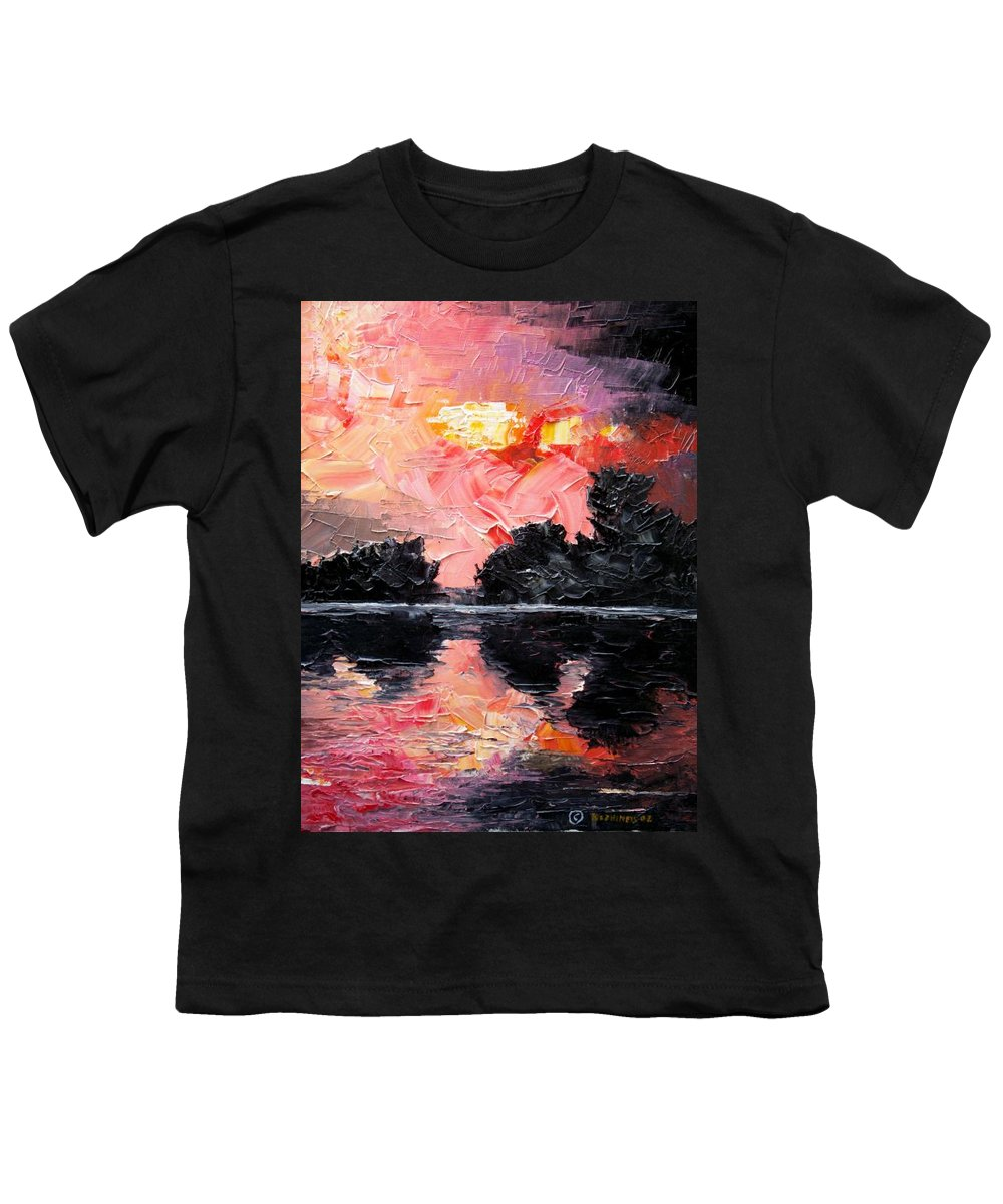 Lake After Storm Youth T-Shirt featuring the painting Sunset. After Storm. by Sergey Bezhinets
