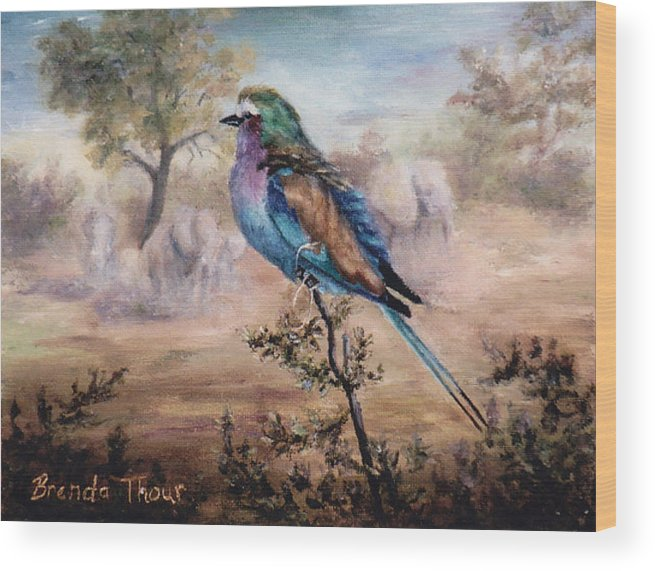 Bird Wood Print featuring the painting African Roller by Brenda Thour