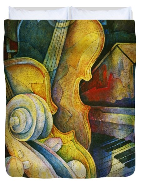 Jazzy Cello Duvet Cover by Susanne Clark