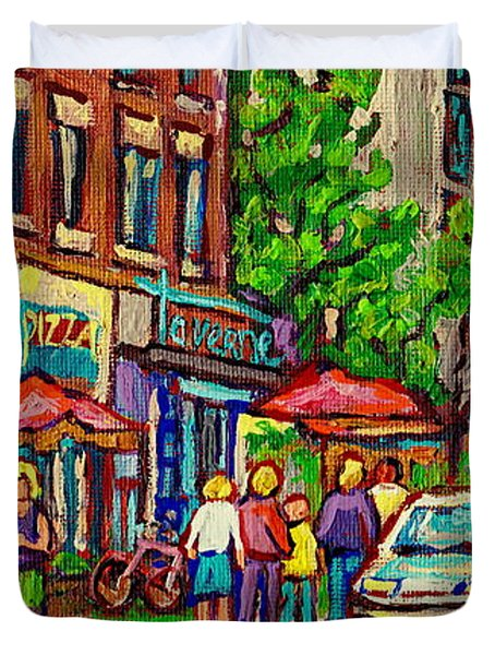 Monkland Tavern Corner Old Orchard Montreal Street Scene Painting Duvet Cover by Carole Spandau