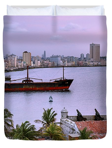 Cuba. Cargo Ship Leaving Havana Bay. Duvet Cover by Juan Carlos Ferro Duque
