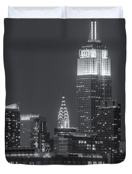 Empire State And Chrysler Buildings At Twilight II Duvet Cover by Clarence Holmes
