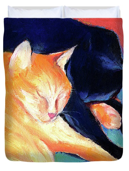 Orange And Black Tabby Cats Sleeping Duvet Cover by Svetlana Novikova