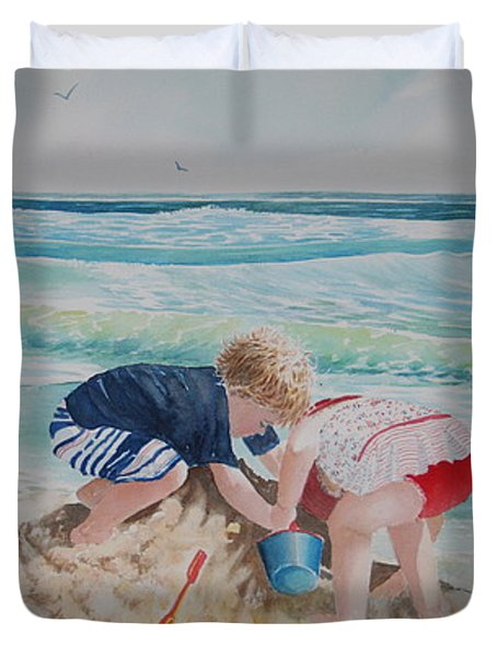 Saving The Sand Castle From The Tide Duvet Cover by Tom Harris