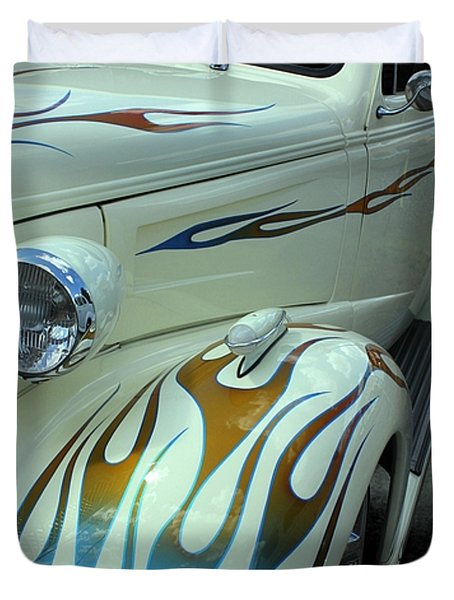 Smokin' Hot - 1938 Chevy Coupe Duvet Cover by Betty Northcutt