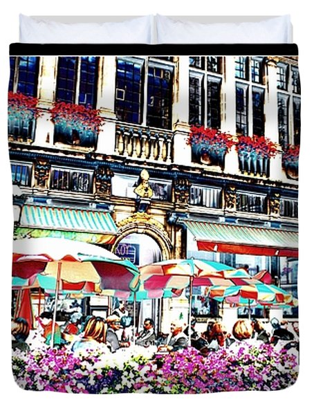 Sunny Day On The Grand Place Duvet Cover by Carol Groenen