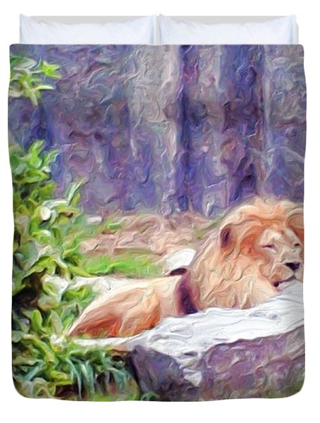 The King At Rest Duvet Cover by Methune Hively