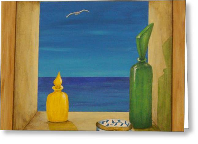 Pill Box Greeting Cards - Sea View two Greeting Card by Pamela Allegretto