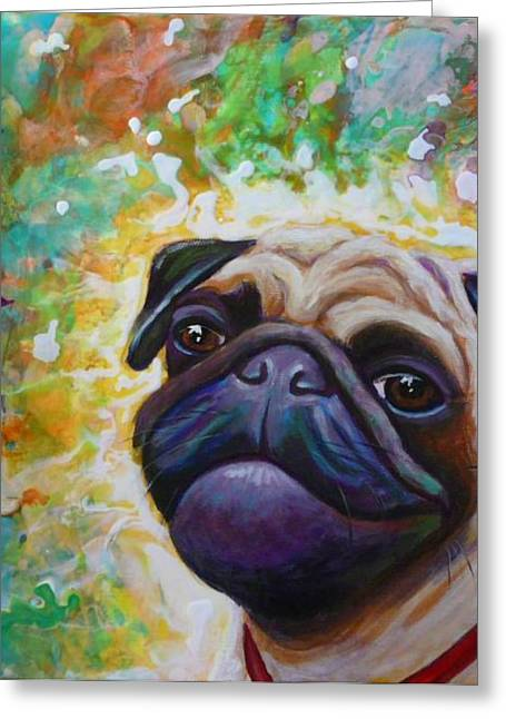 Gayle Utter Greeting Cards - A Pugs World Greeting Card by Gayle Utter