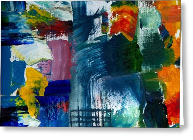 Grungy Paintings Greeting Cards - Abstract Color Relationships l Greeting Card by Michelle Calkins