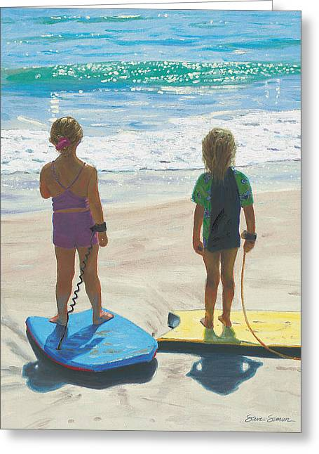 California Girl Greeting Cards - Girls on Boogie Boards Greeting Card by Steve Simon