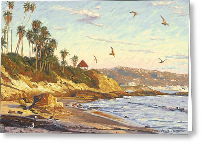 Twilight Paintings Greeting Cards - Heisler Park Rockpile at Twilight Greeting Card by Steve Simon
