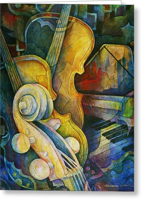 Classical Paintings Greeting Cards - Jazzy Cello Greeting Card by Susanne Clark