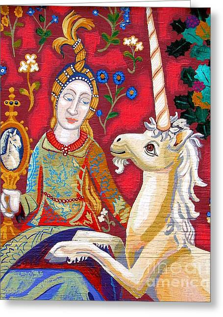 Green And Yellow Tapestries - Textiles Greeting Cards - Lady And The Unicorn Greeting Card by Genevieve Esson
