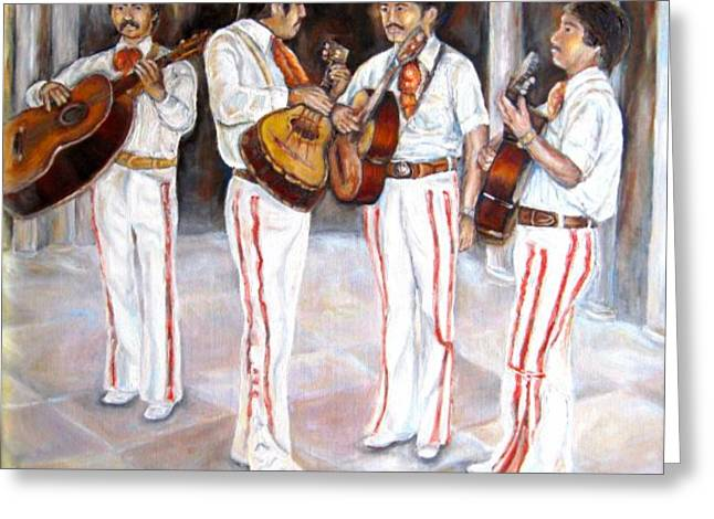Charro Hat Greeting Cards - Mariachi  Musicians Greeting Card by Carole Spandau