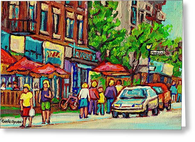 Monkland Tavern Corner Old Orchard Montreal Street Scene Painting Greeting Card by Carole Spandau