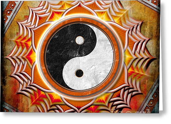 Harmonize Greeting Cards - Yin Yang - The healing of the orange chakra. Greeting Card by Dirk Czarnota