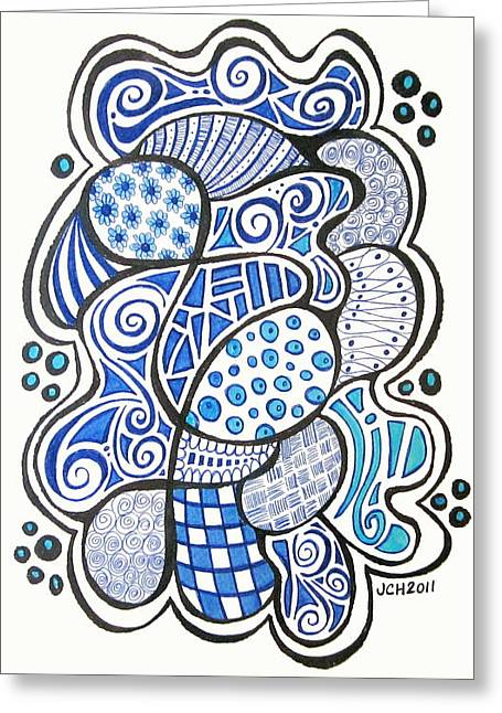 Swirls And Stripes Greeting Cards - Blue Doodad Greeting Card by Jo Claire Hall