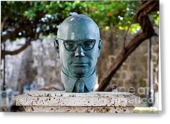 Comptroller Greeting Cards - Bust of Carlos Lleras Restrepo in Cartagena de Indias Colombia Greeting Card by Jannis Werner
