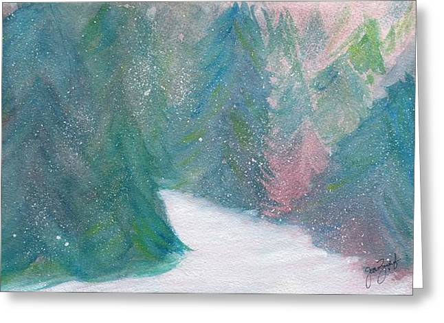 Evergreen With Snow Greeting Cards - Winter Greeting Card by Joan Zepf