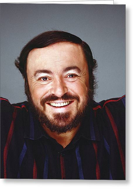 Pavarotti Greeting Cards -  Luciano Pavarotti Greeting Card by Stan Fellerman