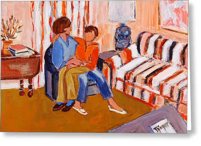 May I Sit On Your Lap Greeting Card by Elzbieta Zemaitis