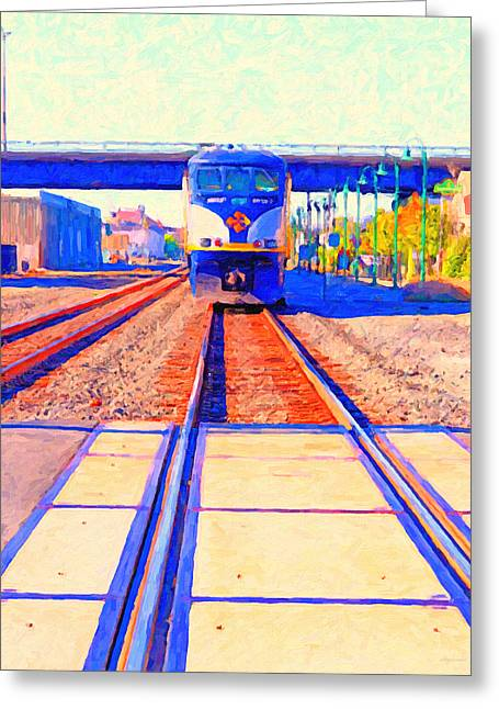 Railroad Crossing Greeting Cards - Amtrak Train . Photo Art Greeting Card by Wingsdomain Art and Photography