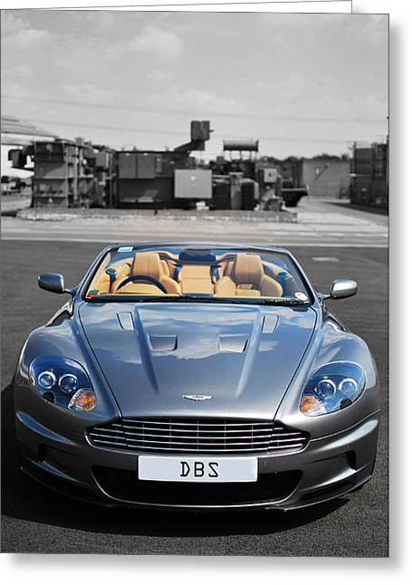 English Car Greeting Cards - Aston Martin DBS Greeting Card by Yhun Suarez