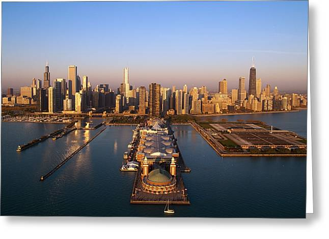 Willis Greeting Cards - Chicago Skyline Greeting Card by Jeff Lewis