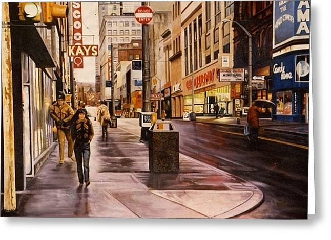 Fifth Avenue In The 80s Greeting Card by James Guentner