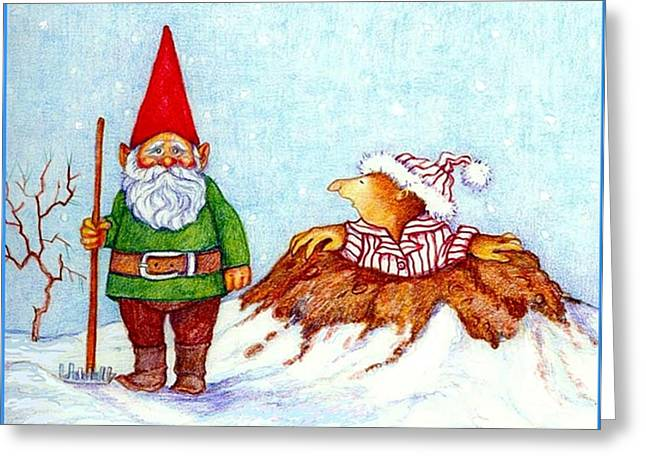 Gnomes Greeting Cards - Is it Spring Yet Greeting Card by Peggy Wilson