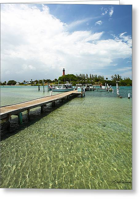 Docked Boats Greeting Cards - Jupiter Lighthouse Florida Greeting Card by Michelle Wiarda