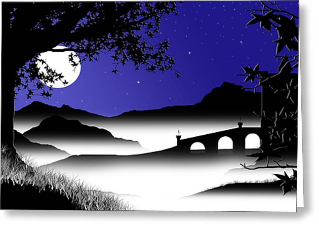Moonlit Night Greeting Cards - Moonlit Castle Greeting Card by Chris Brannen