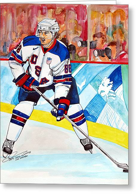 Winter Olympics Greeting Cards - Patrick Kane  Greeting Card by Dave Olsen