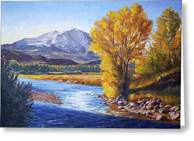 Rivers In The Fall Paintings Greeting Cards - September Sopris Morning Greeting Card by Shawn Shea
