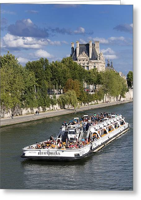 Royal Art Greeting Cards - Sightseeing boat on river Seine to Louvre museum. Paris Greeting Card by Bernard Jaubert