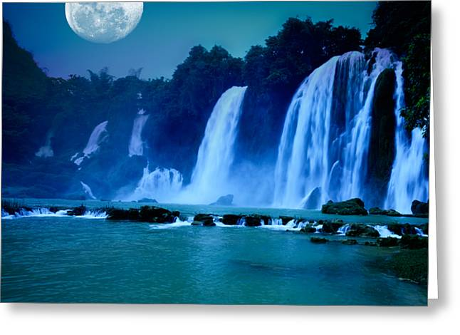 Moonlit Greeting Cards - Waterfall Greeting Card by MotHaiBaPhoto Prints