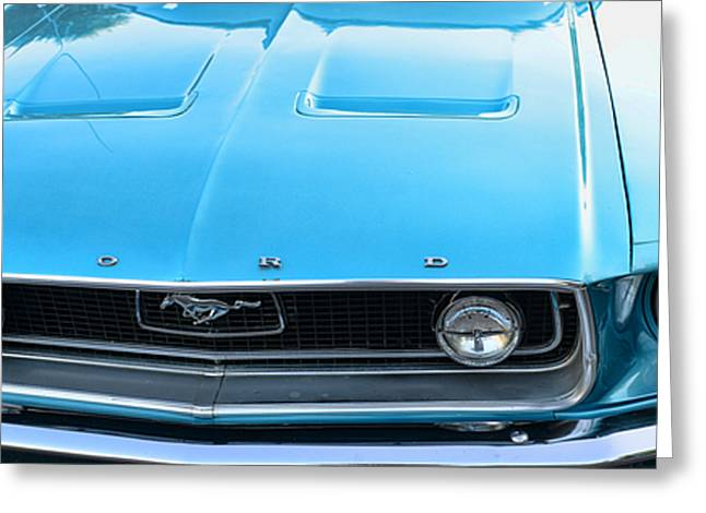 Lt Greeting Cards - 1968 Mustang Fastback Hood Greeting Card by Paul Ward