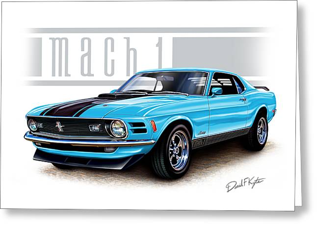 Mach 1 Greeting Cards - 1970 Mustang Mach 1 Blue Greeting Card by David Kyte