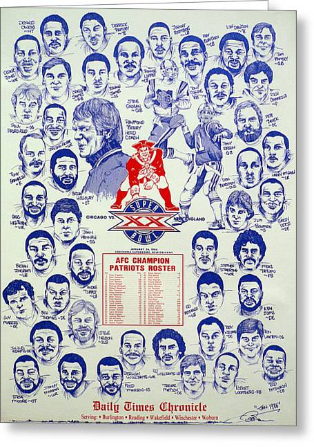 Nfl Drawings Greeting Cards - 1985 New England Patriots Superbowl newspaper Poster Greeting Card by Dave Olsen