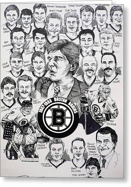 Championship Drawings Greeting Cards - 1988 Boston Bruins Newspaper Poster Greeting Card by Dave Olsen