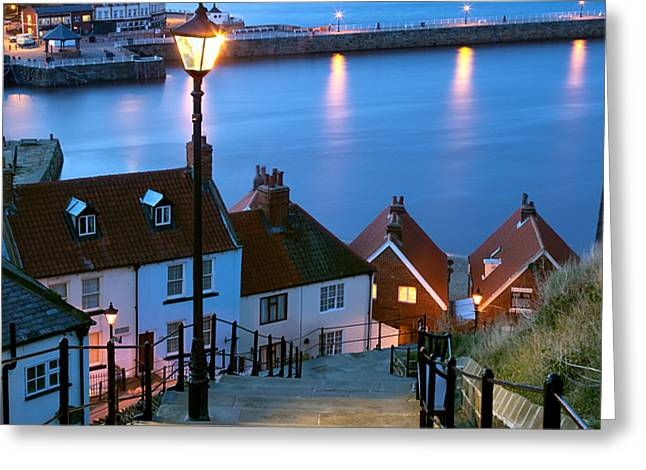 North Sea Greeting Cards - 199 Steps Whitby Greeting Card by John Potter