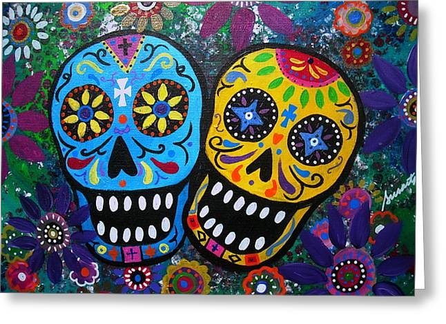 Carter House Greeting Cards - Couple Day Of The Dead Greeting Card by Pristine Cartera Turkus