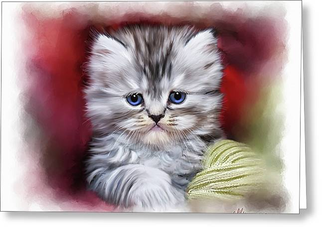 Pussy Greeting Cards - Pet Cat Portrait Greeting Card by Michael Greenaway