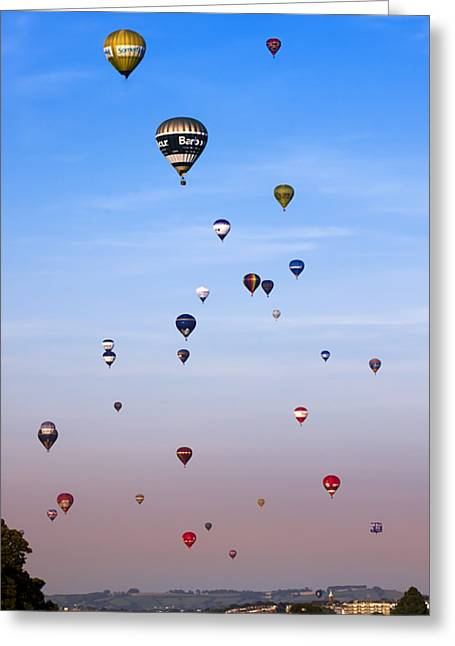 Weightless Greeting Cards - Colorful balloons on colorful sky Greeting Card by Angel  Tarantella
