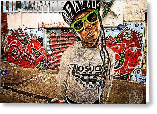 """""""photo Manipulation"""" Mixed Media Greeting Cards - Street Phenomenon Lil Wayne Greeting Card by The DigArtisT"""
