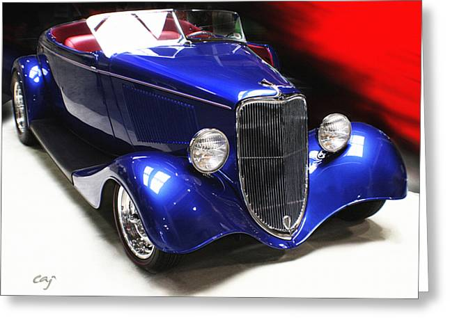 Curt Johnson Greeting Cards - 33 Ford Roadster in Blue Greeting Card by Curt Johnson
