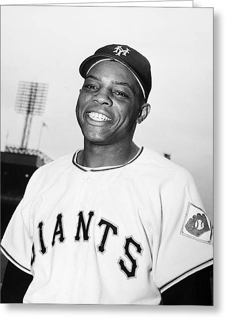 1951 Greeting Cards - Willie Mays (1931- ) Greeting Card by Granger