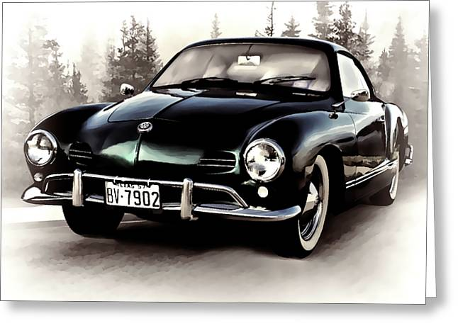 Volkswagen Greeting Cards - 57 Karmann Ghia Greeting Card by Douglas Pittman